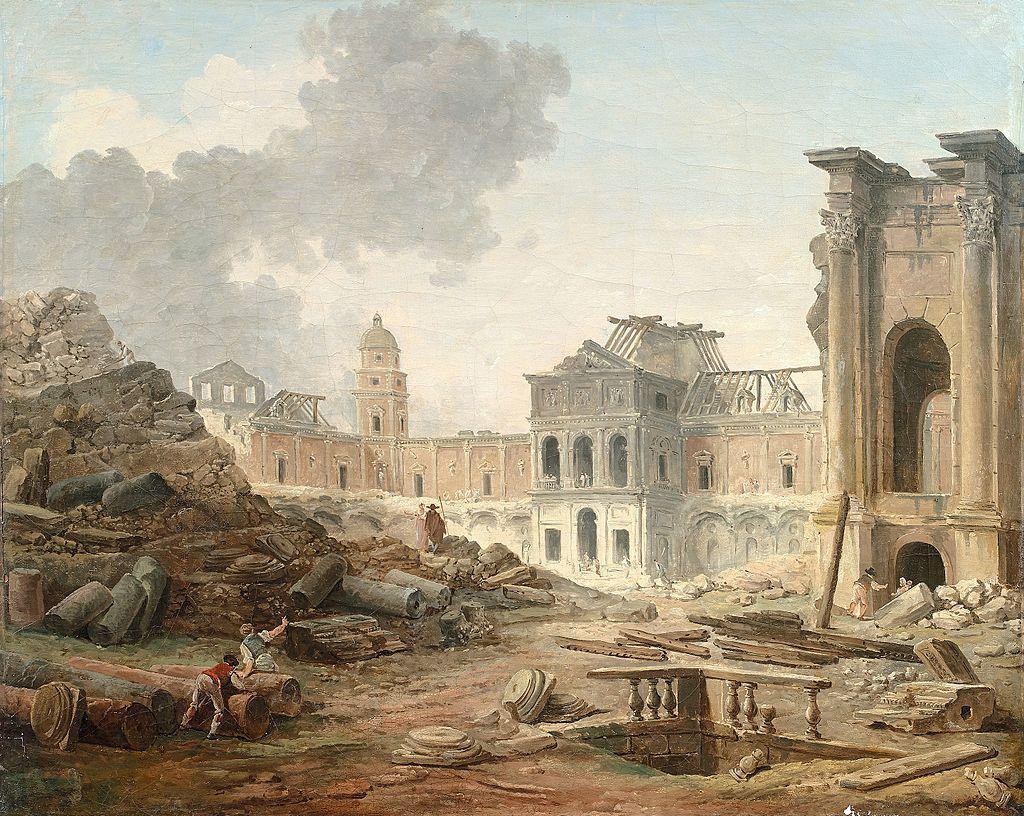 Esquisse terminee de la demolition du chateau de meudon par hubert robert